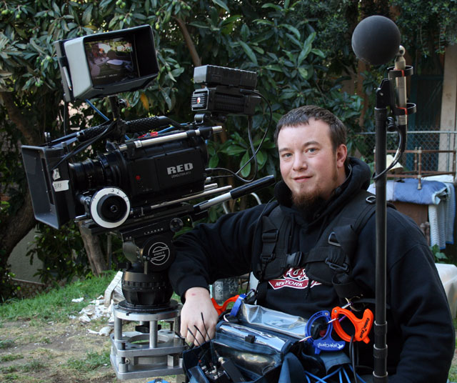 "Tom working with the RED ONE camera on ""Zachariah"""